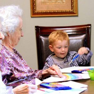 Water color painting with my friends grandchild